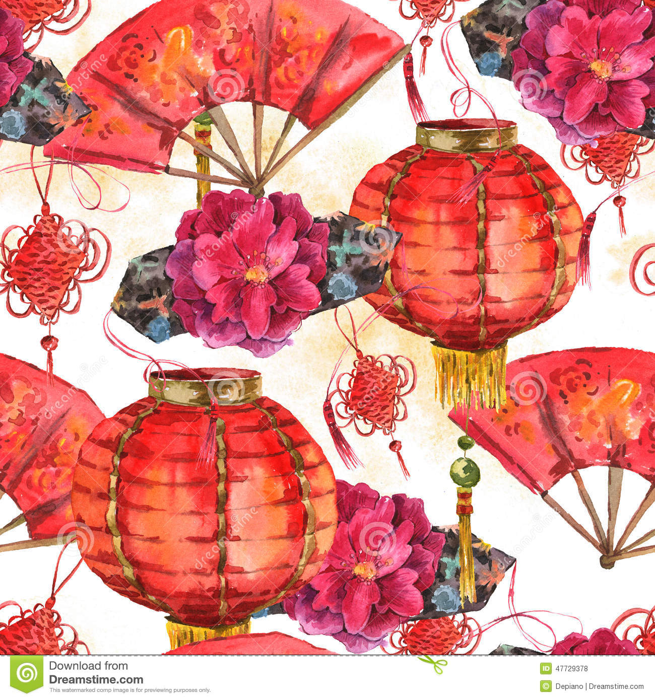 Seamless Watercolor Chinese New Year Background Stock