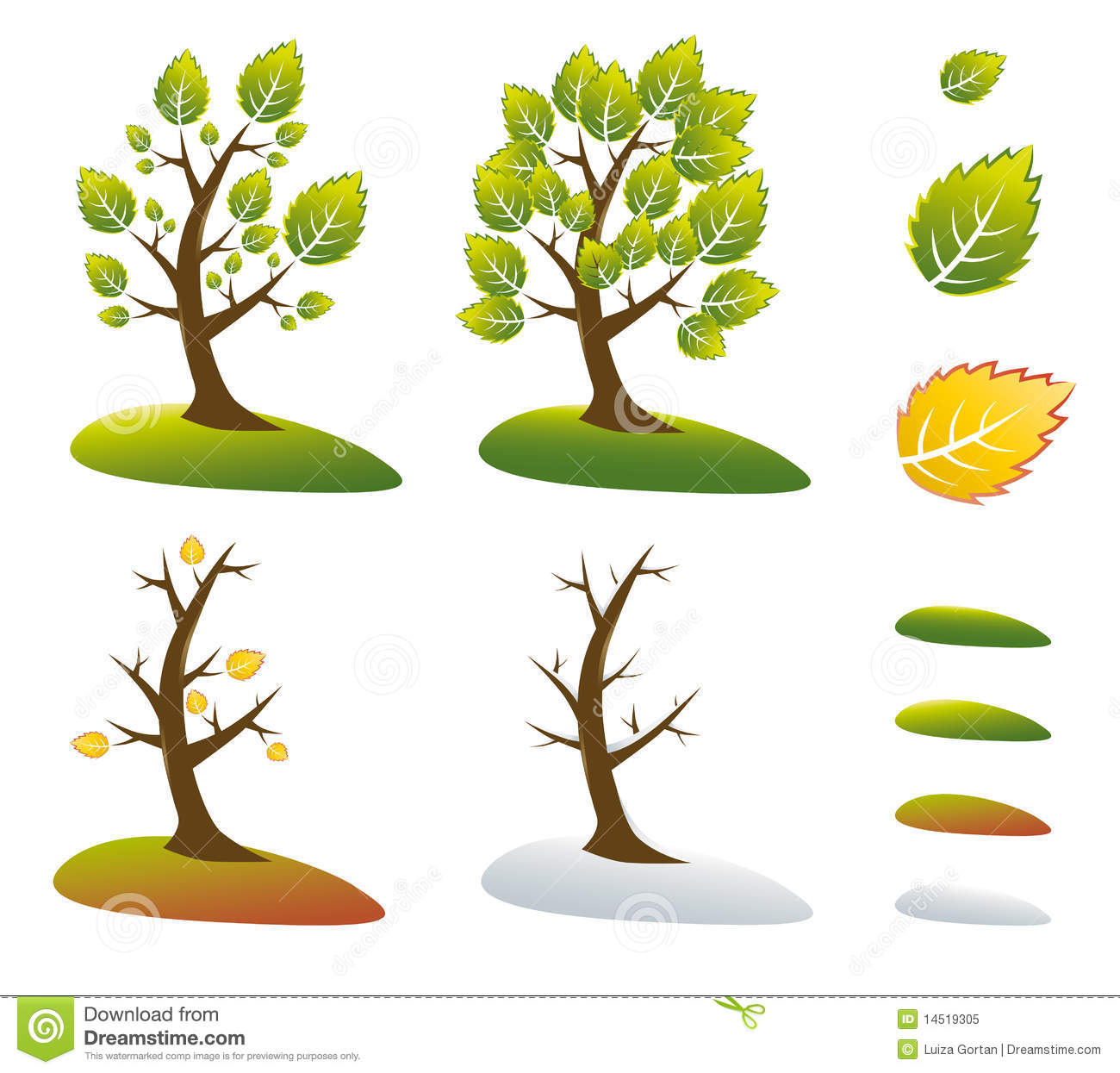 Season Tree Symbols Vector Illustration Royalty Free Stock