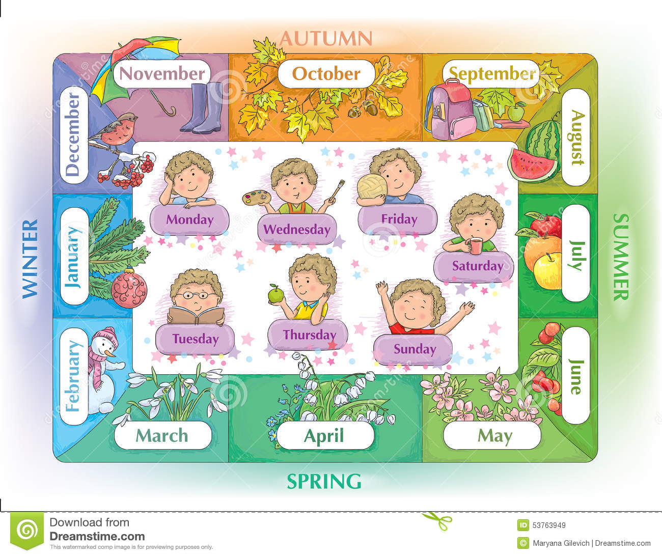 Seasons Months Days Stock Vector Illustration Of Kids