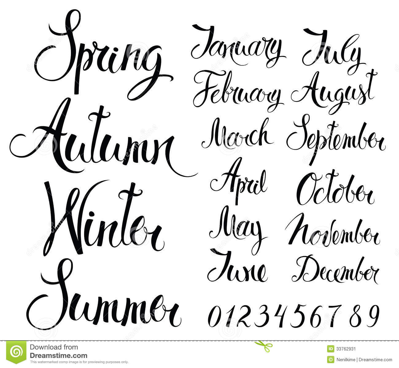 Seasons Months And Numbers Stock Vector