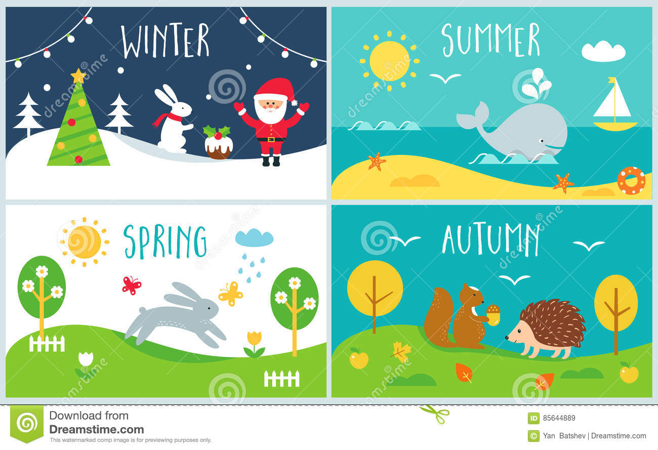 Seasons Of The Year Cards Winter Spring Summer Autumn