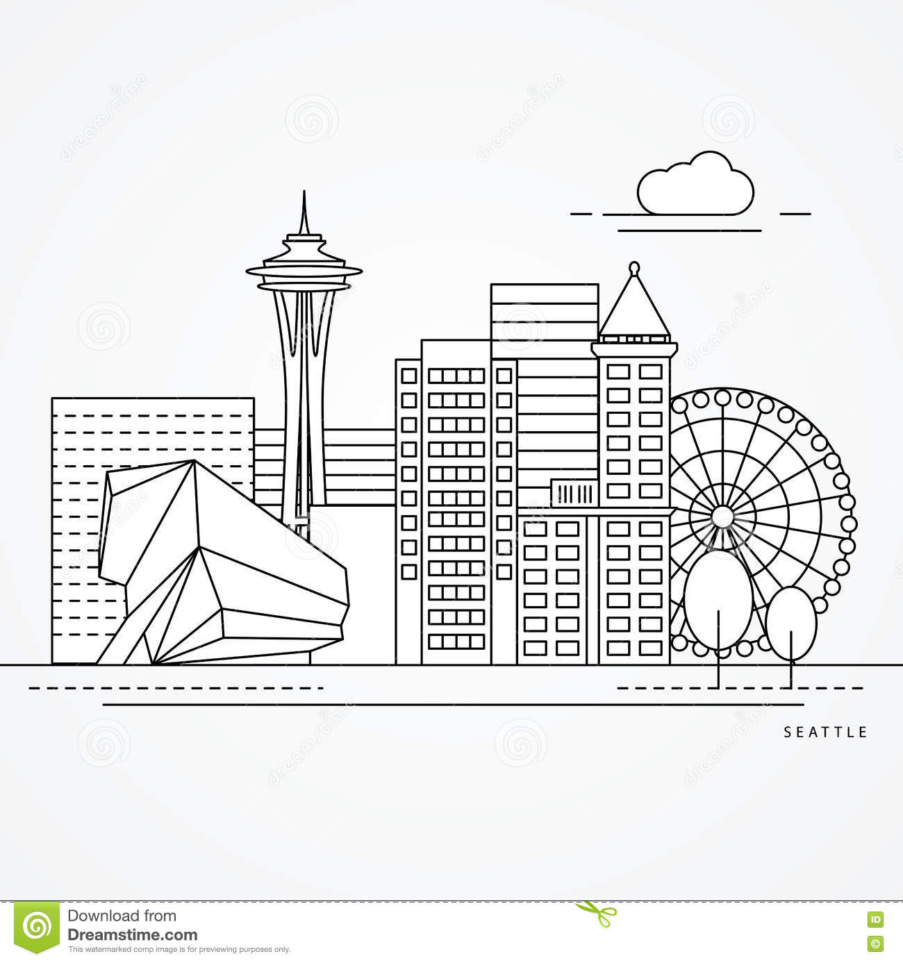 Seattle One Line Design Stock Vector Illustration Of