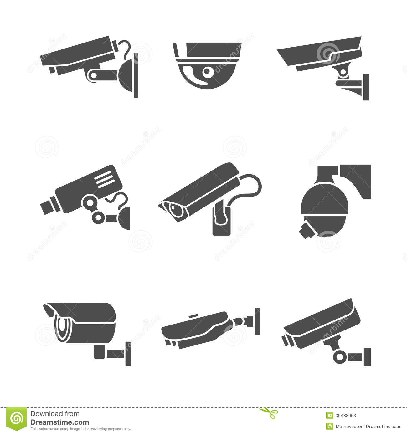 Security Cameras Icons Set Stock Vector Illustration Of