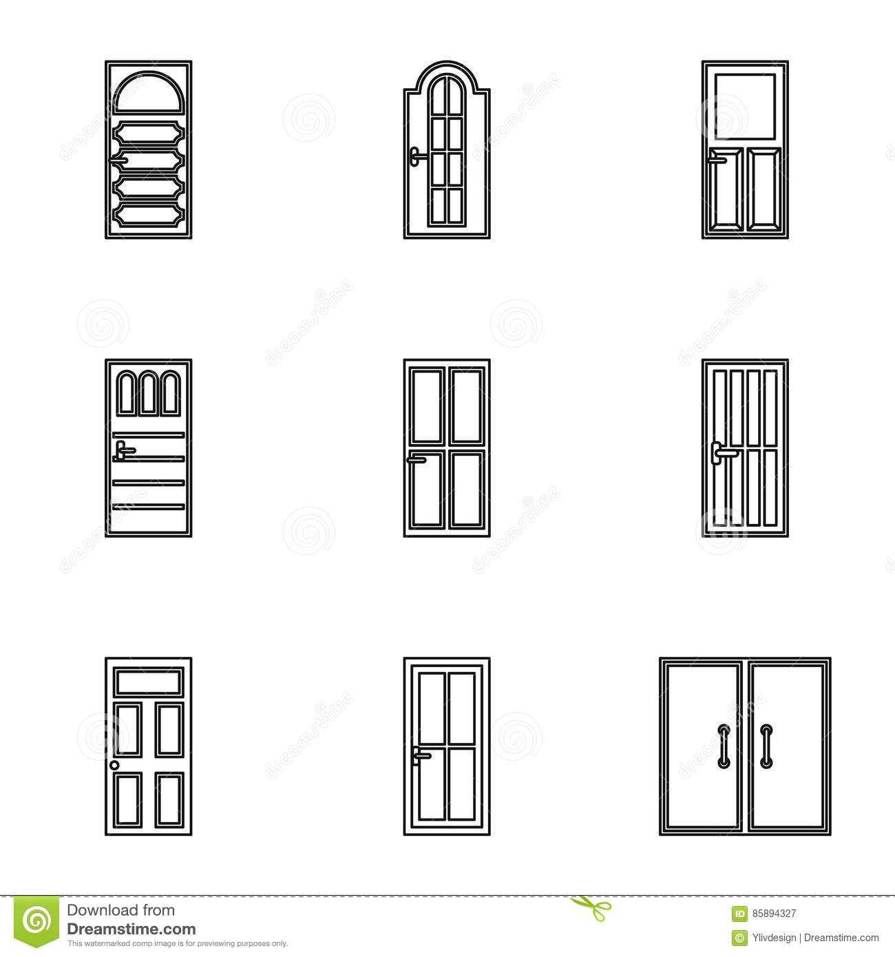 Security Doors Icons Set Outline Style Stock Vector