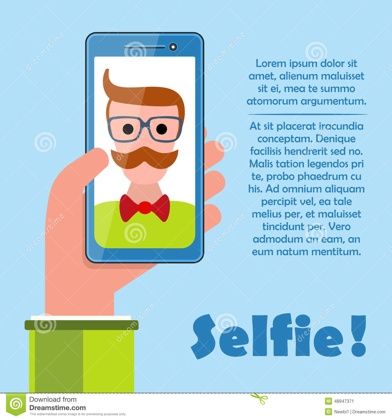 Selfie Poster With Hipster Holding Smartphone Vector