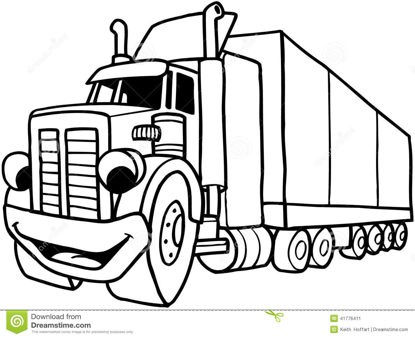 Semi Large Truck Cartoon Vector Clipart Stock Vector