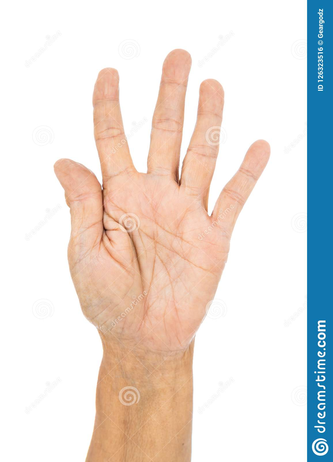 Senior Hand Counting Number 5 Five Isolate On White