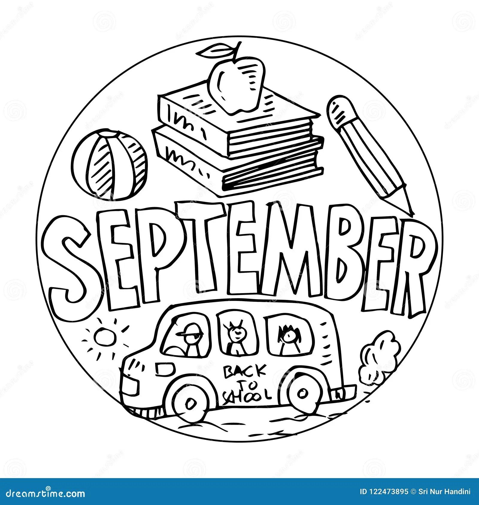 September Coloring Pages For Kids Stock Illustration