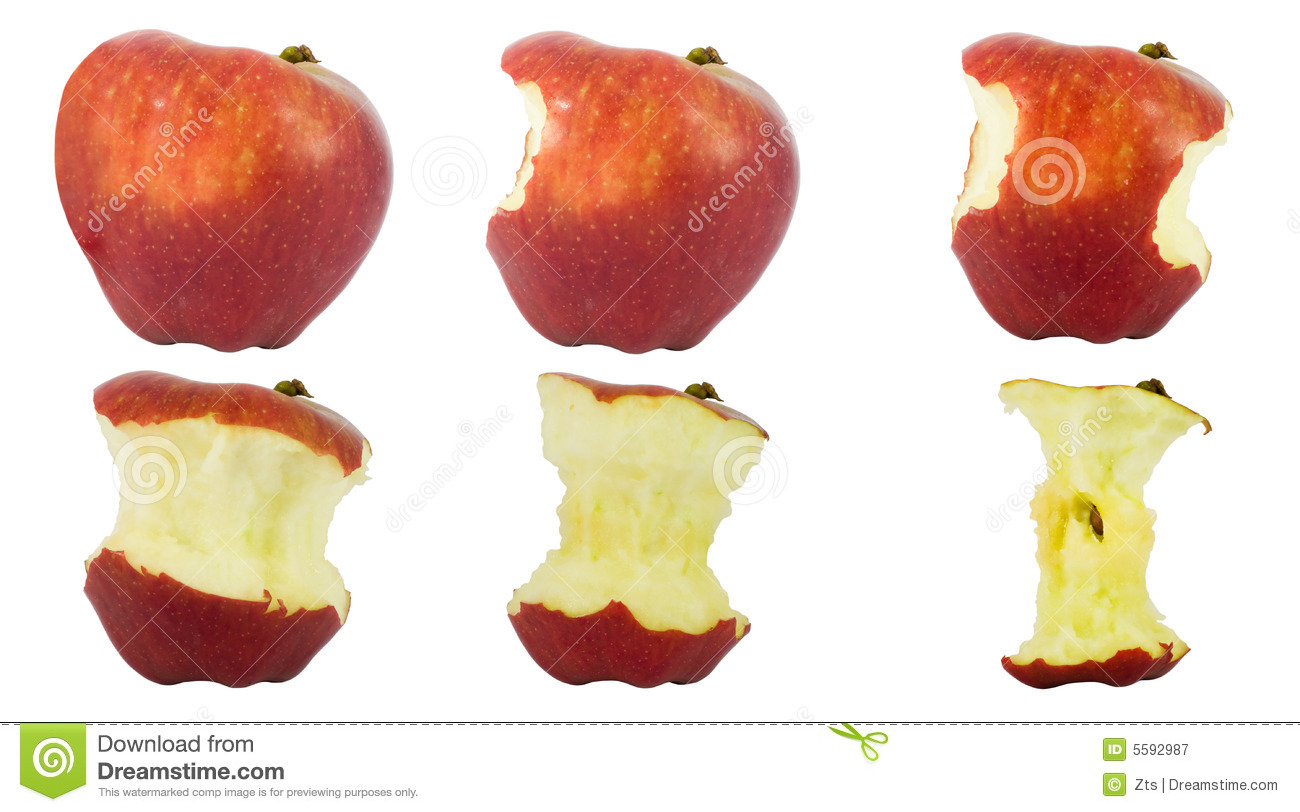 Sequence Of An Apple Being Eaten Royalty Free Stock