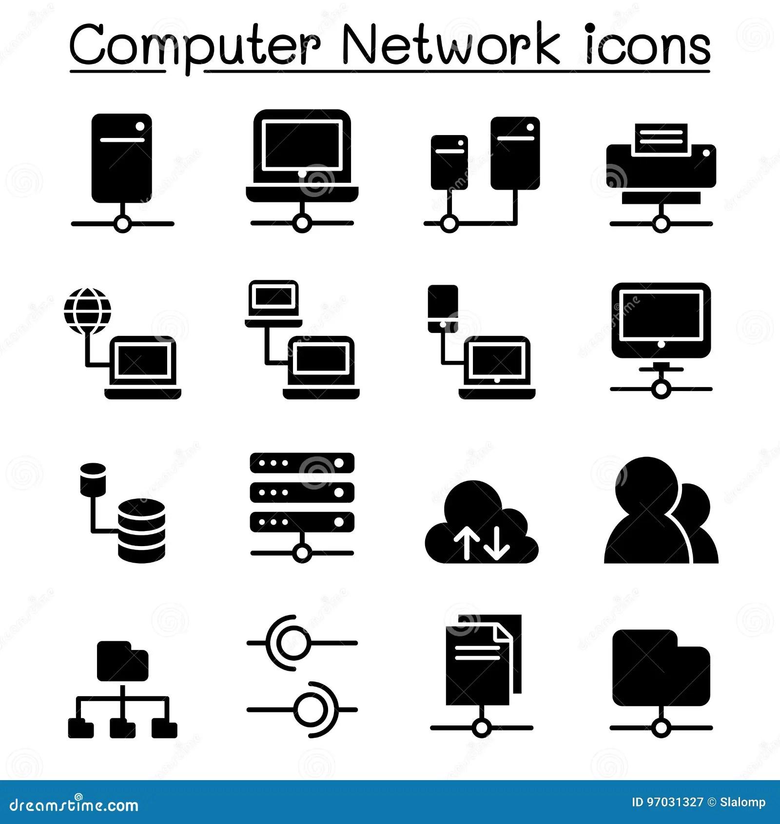 Server Amp Computer Network Icon Set Stock Illustration