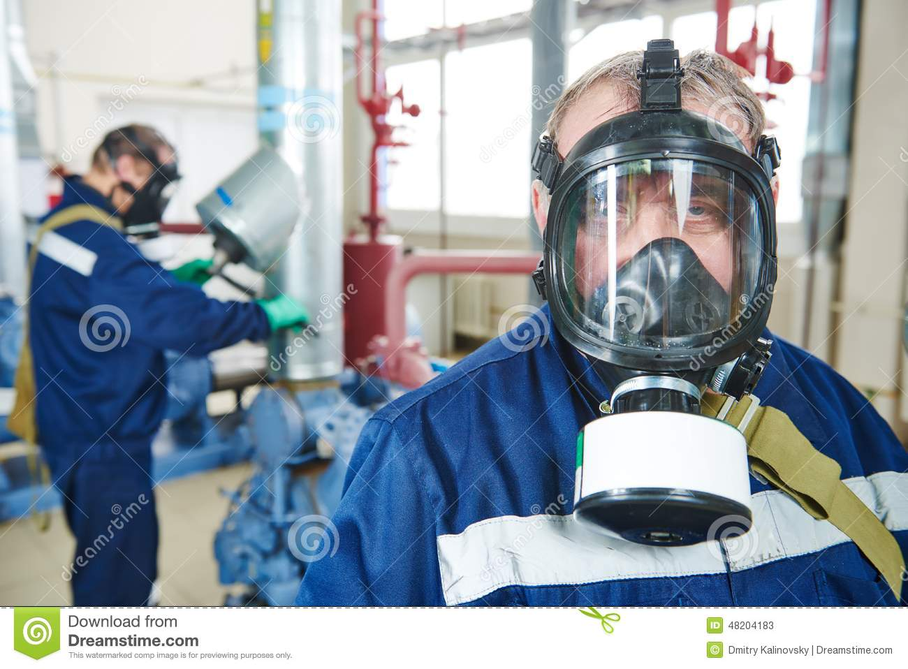 Service Worker At Industrial Compressor Station Stock