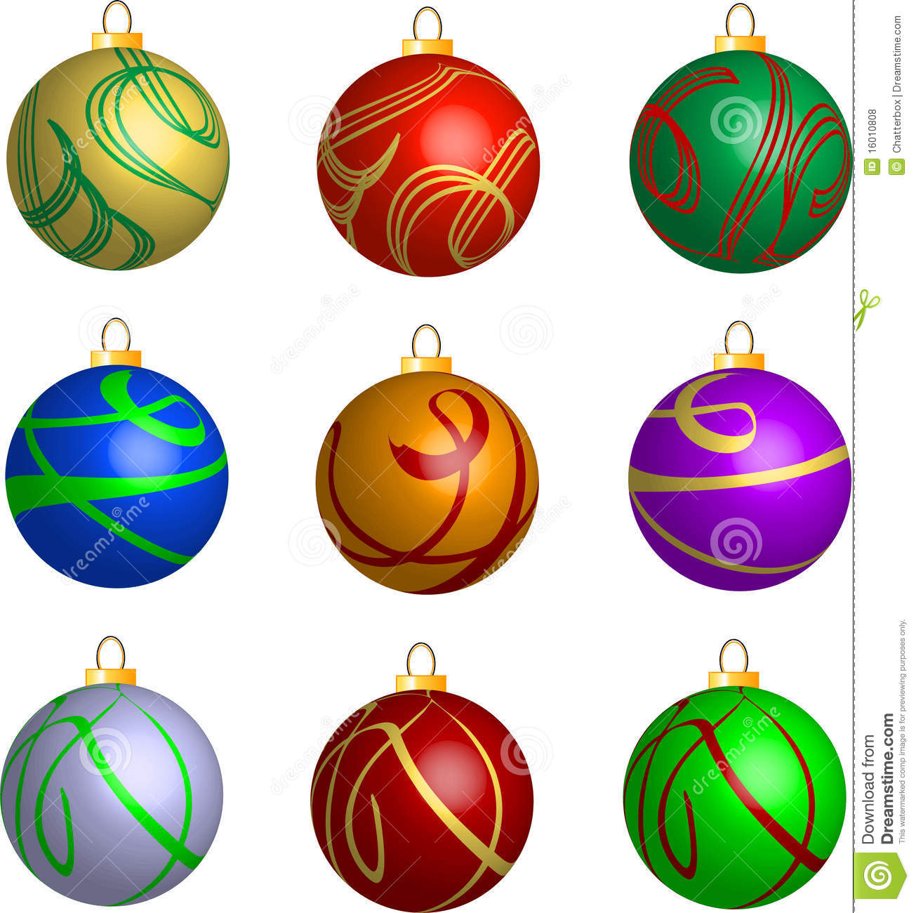 Set Of 3d Swirl Christmas Balls Decorations Royalty Free