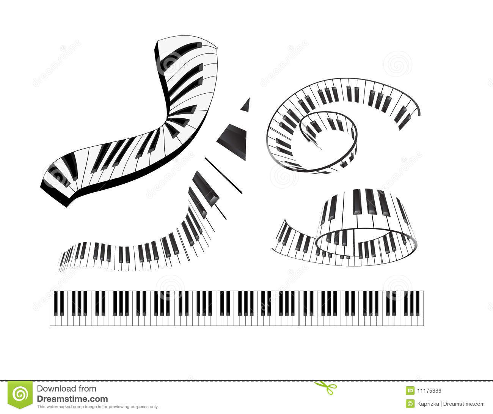 Set Of Abstract Piano Keyboard Royalty Free Stock Image
