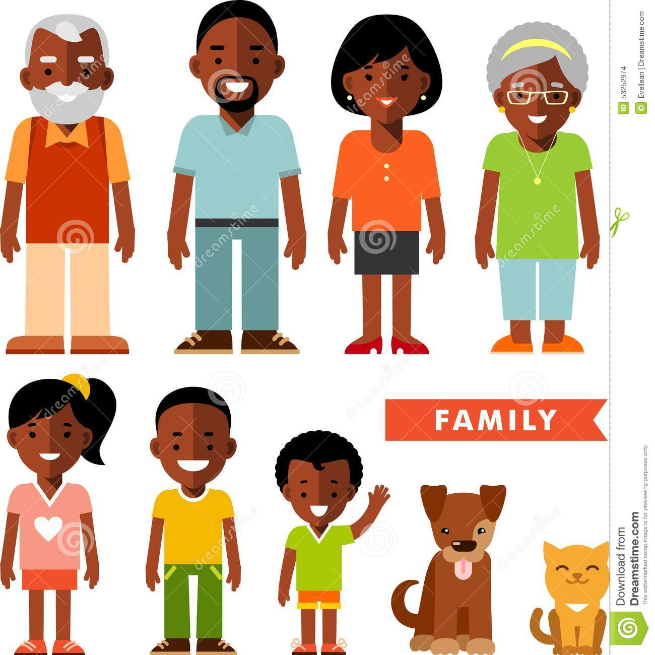 Set Of African American Ethnic Family Members In Flat