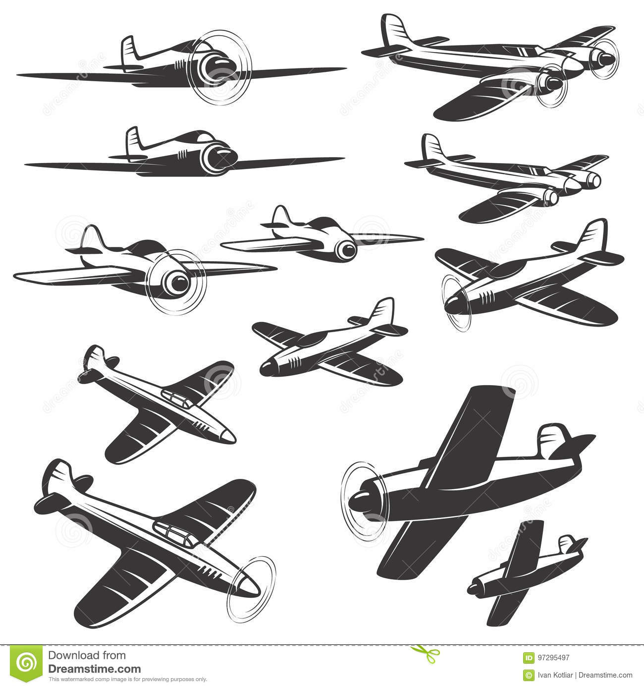 Set Of Aircraft Icons Isolated On White Background Design