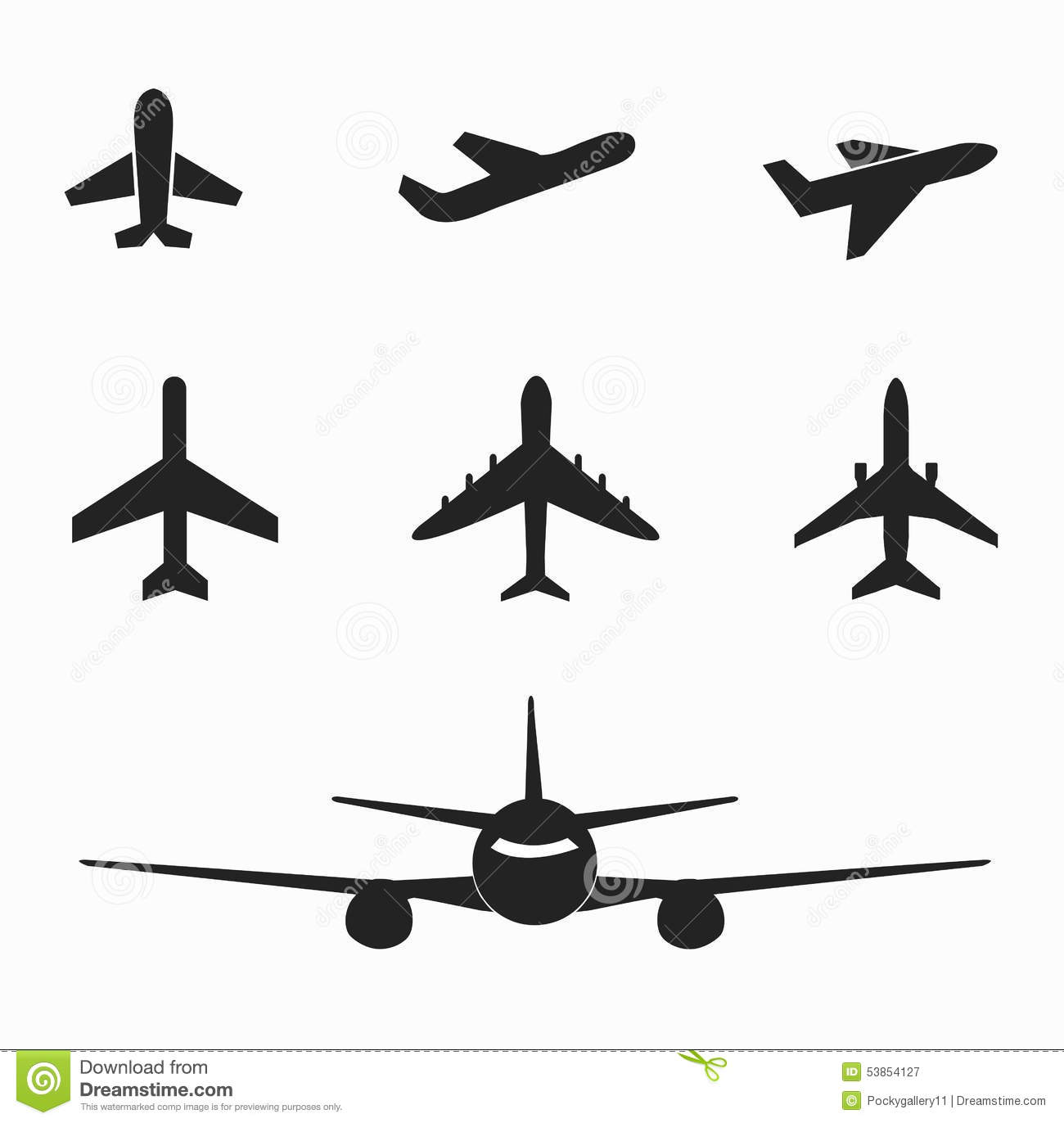 Set Of Airplane Icon On White Stock Vector