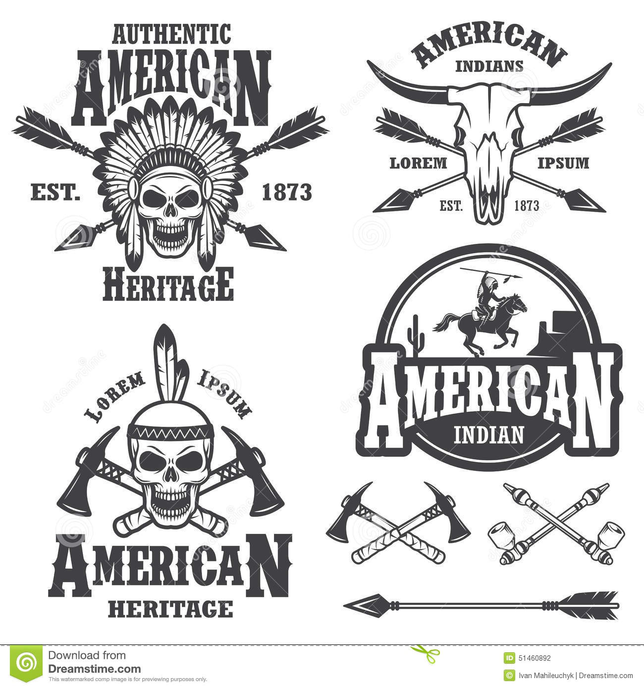 Set Of American Indian Emblems Stock Vector
