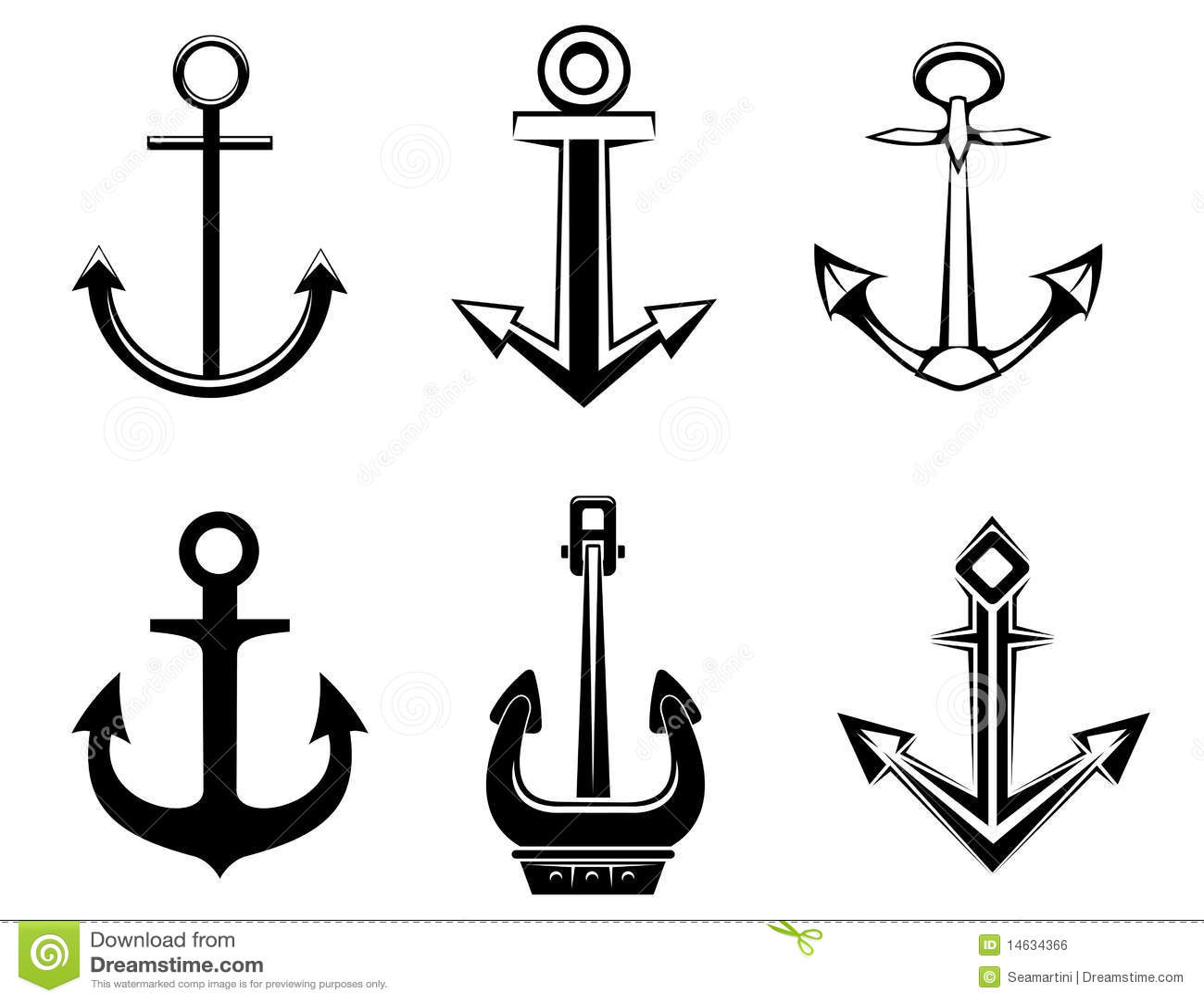 Set Of Anchor Symbols Stock Vector Illustration Of Metal