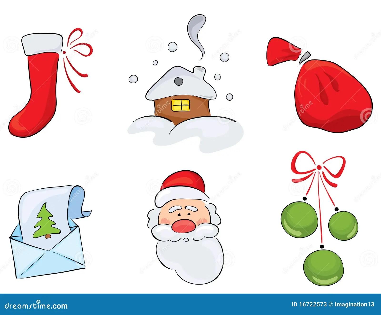 Set Aquarell Weihnachtszeichnungen Stock Abbildung