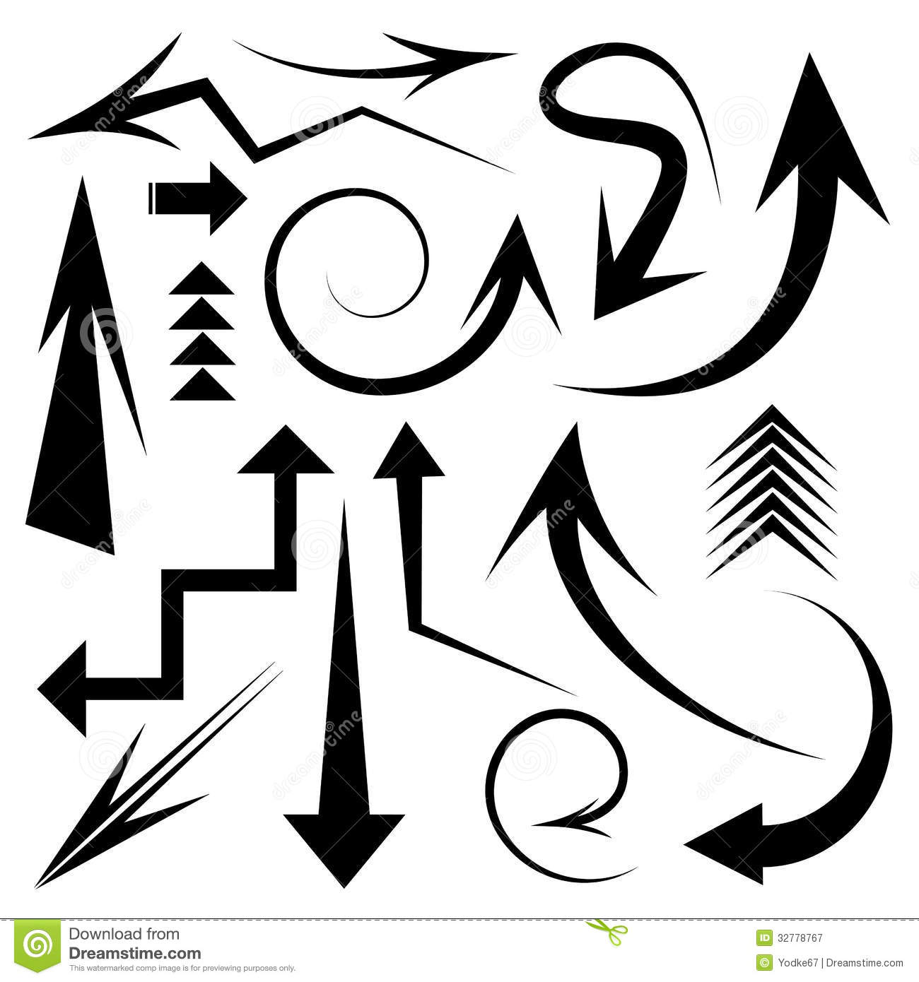 Set Of White Arrows With Shadow Cartoon Vector
