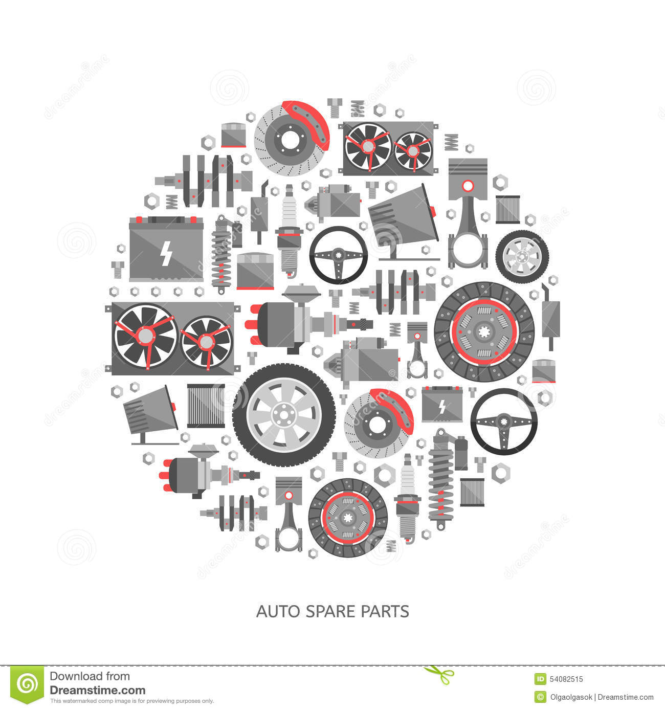 Set Of Auto Spare Parts Stock Vector