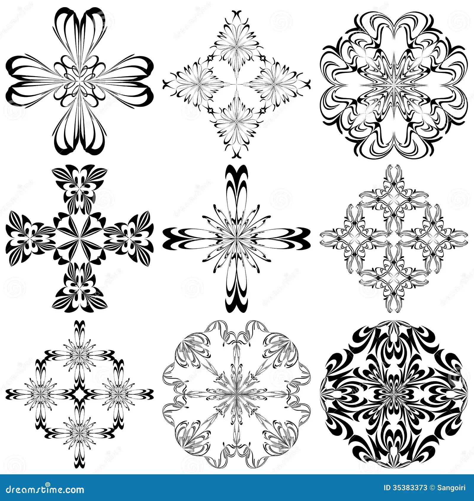 Set Of Baroque Crosses Stock Vector Illustration Of