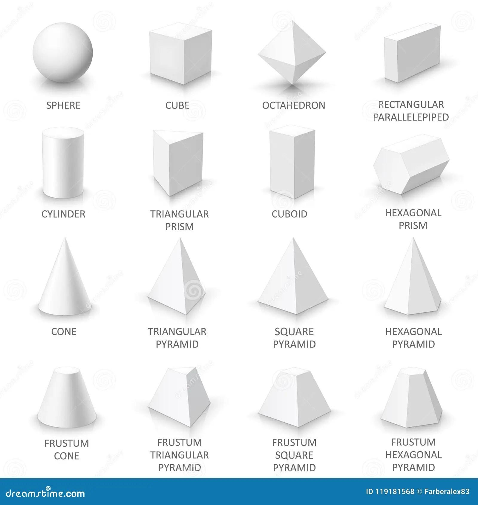 Set Of Basic 3d Shapes Stock Vector Illustration Of