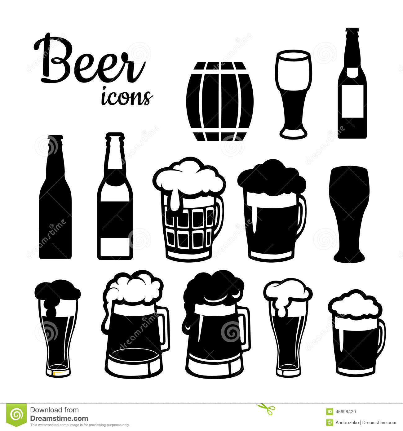 Set Of Beer Icons Stock Vector