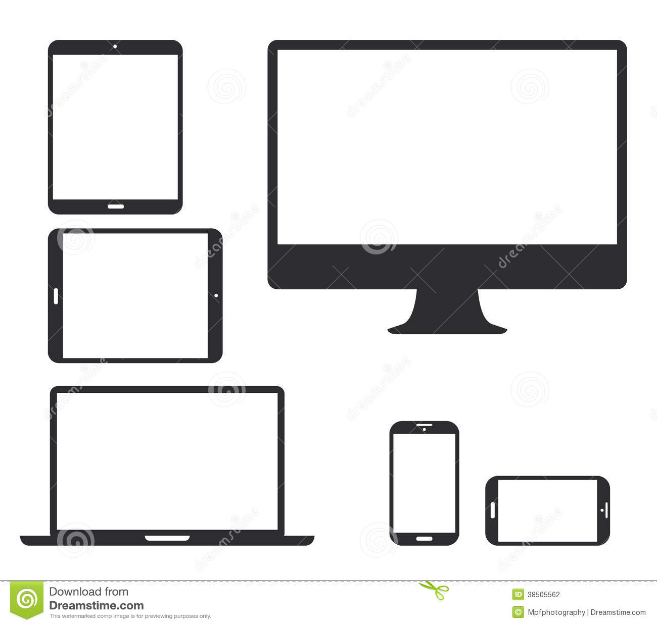 Set Of Black Electronic Device Silhouette Icons V Stock