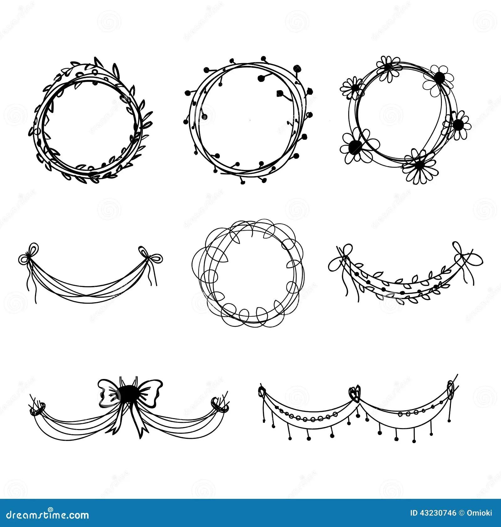 Set Of Black Hand Drawn Floral Design Elements Stock