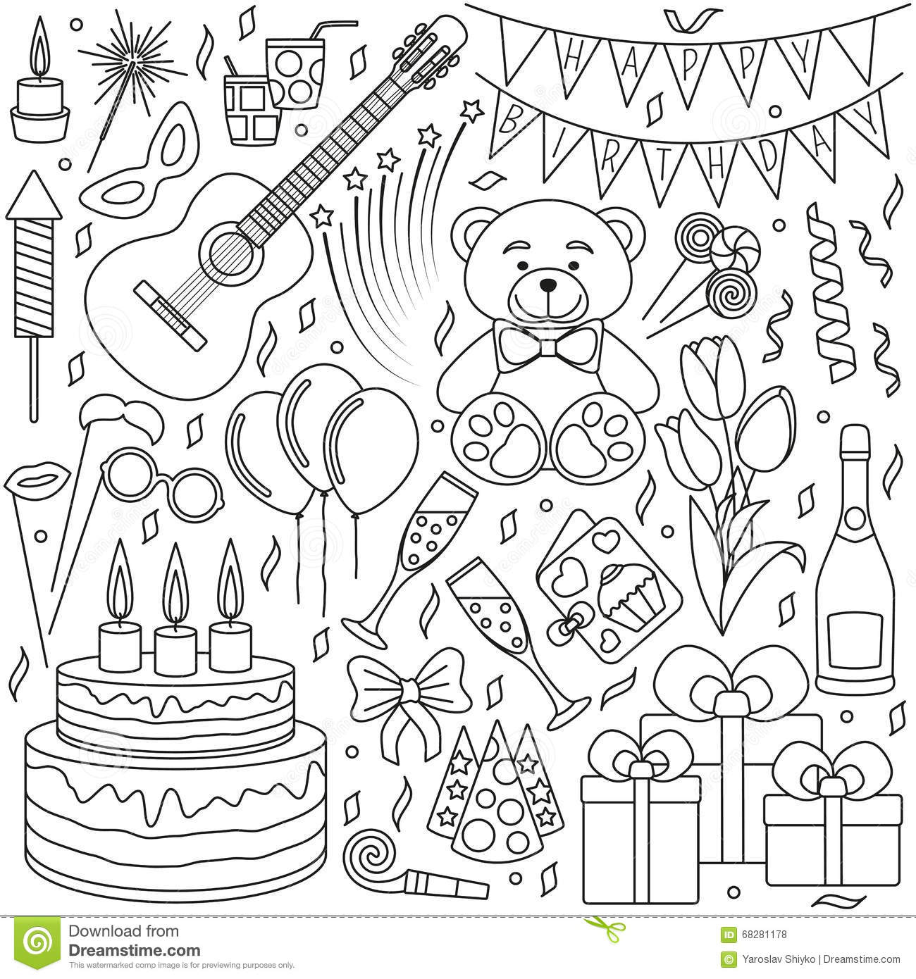 Set Of Black Line Icons Happy Birthday And Party Events