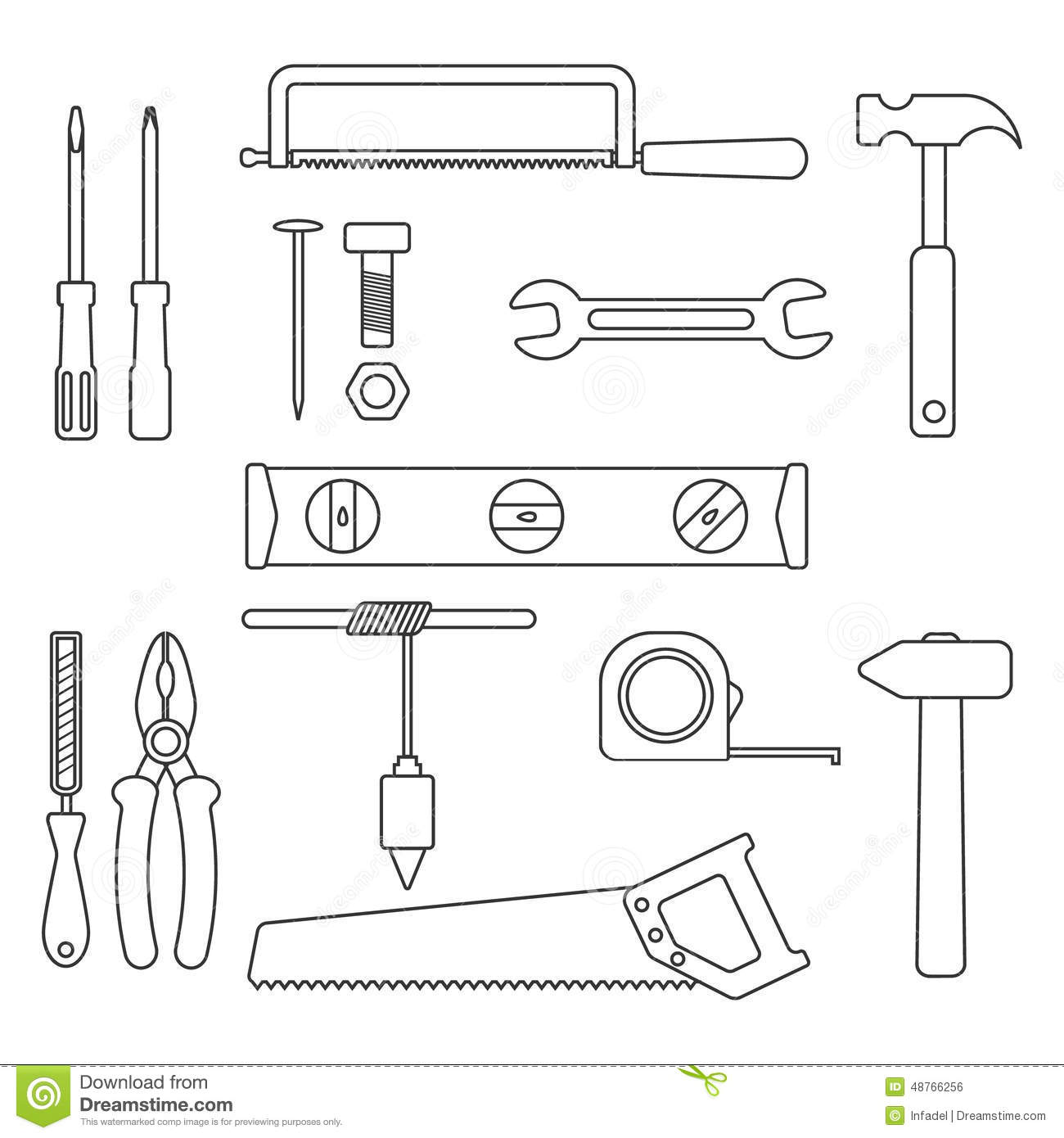 Set Of Black Outline Tools Stock Vector