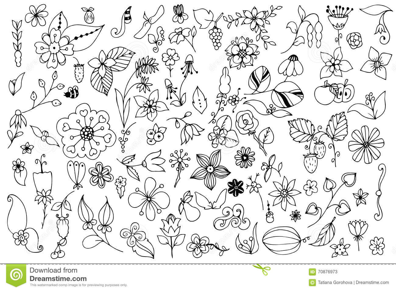 Set Of Black And White Doodle Flowers Leaves Hand Drawn