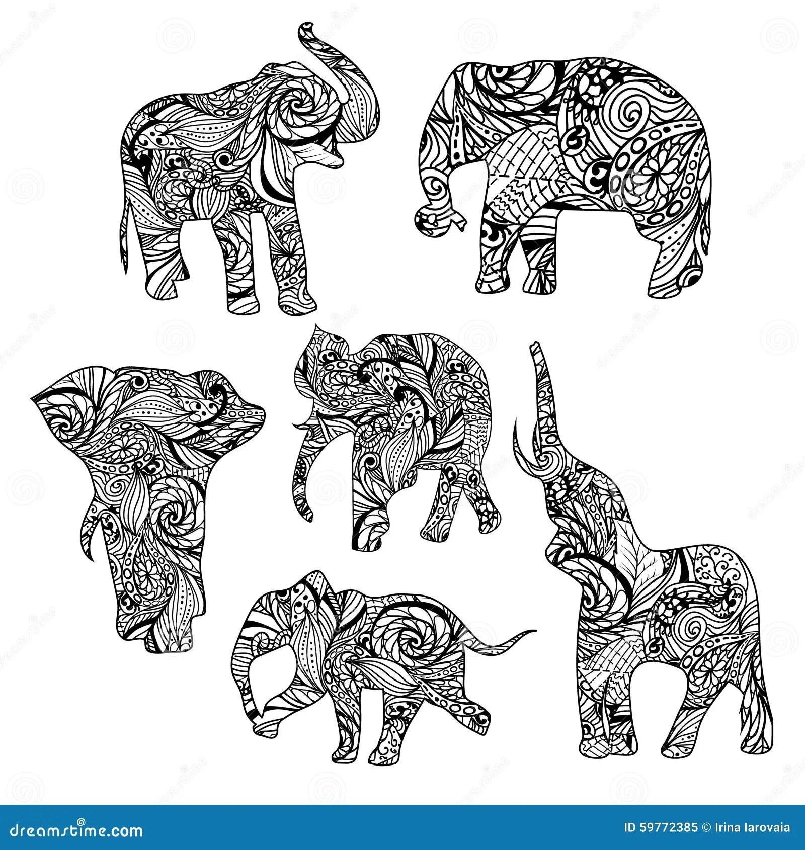 Set Of Black And White Hand Drawn Ethnic Elephants Stock