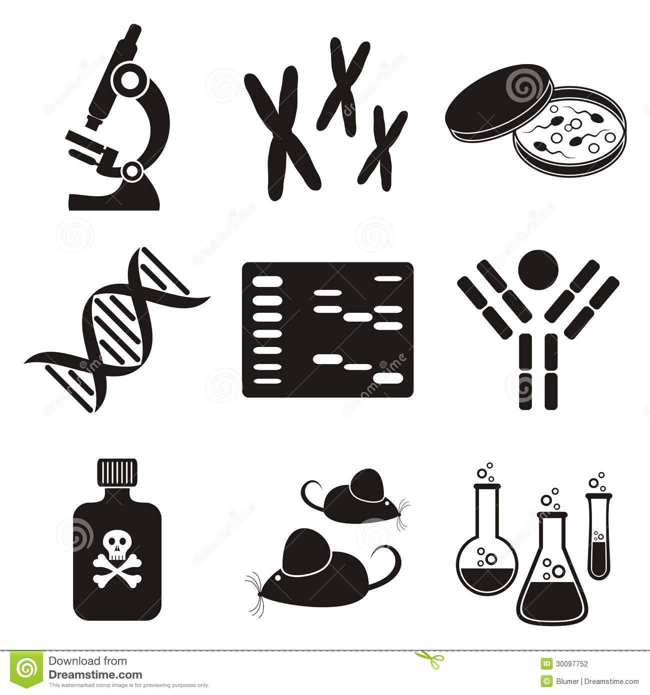 Biology Science Icons Stock Vector Illustration Of Cells