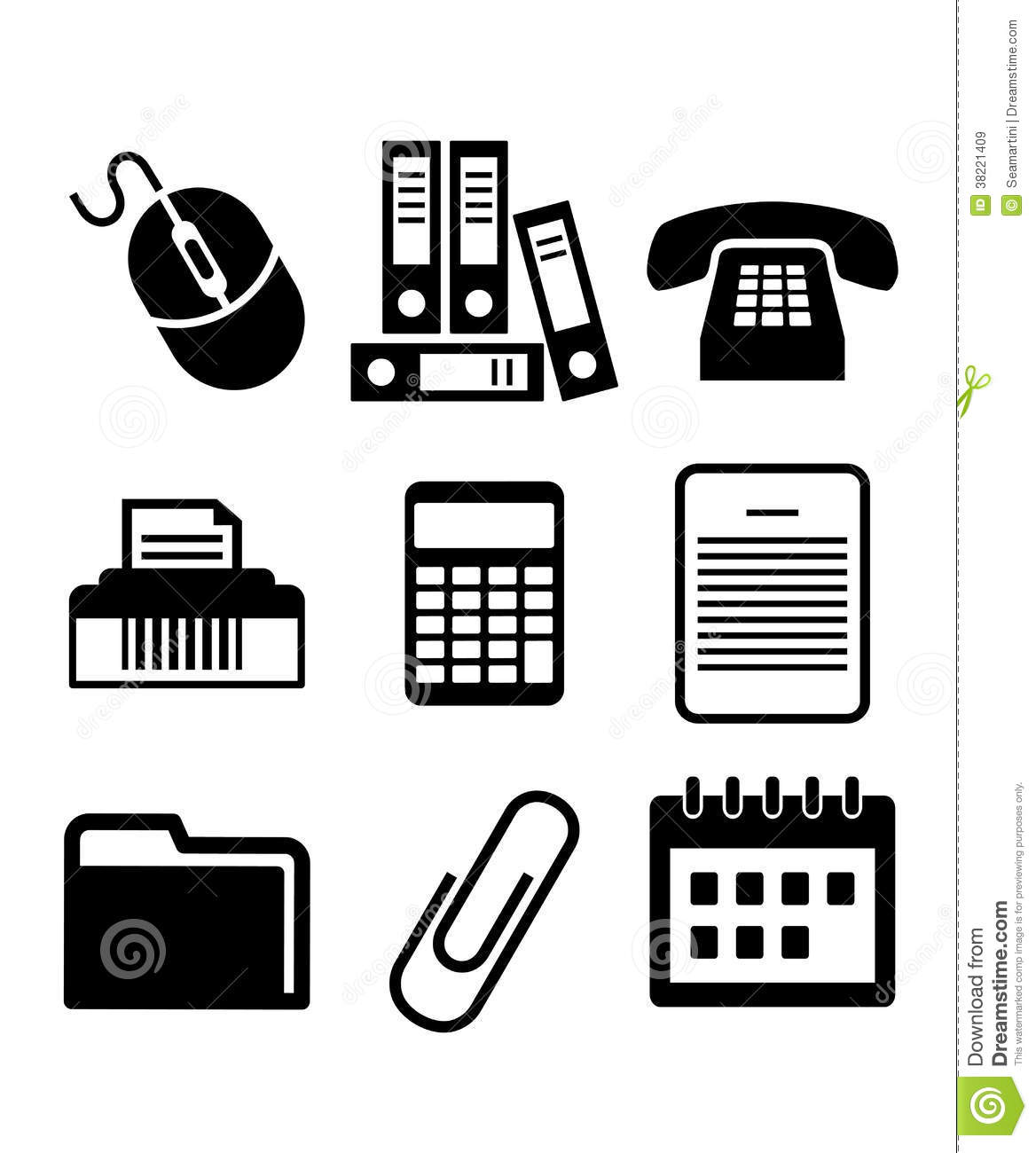 Set Of Black And White Office Icons Stock Vector