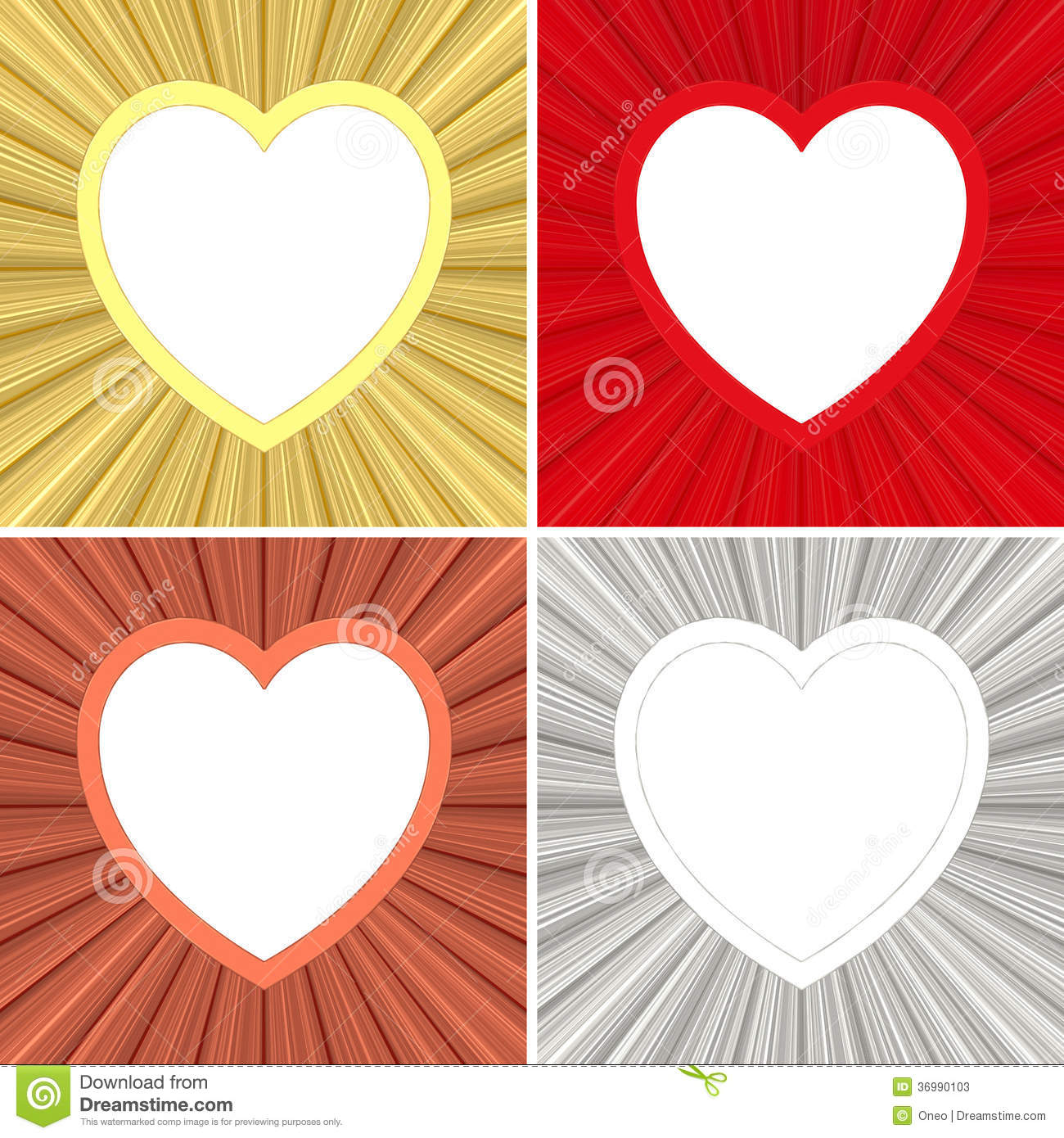 Set Of Blank Heart Shaped Colorful Stock Illustration