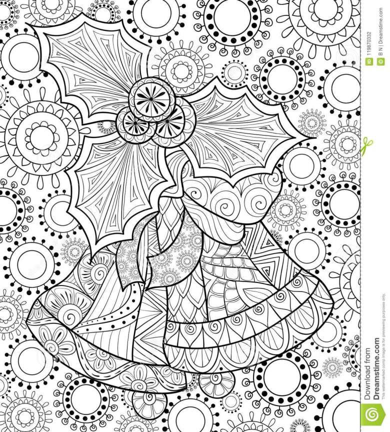 adult coloring book,page a christmas bells on the background with