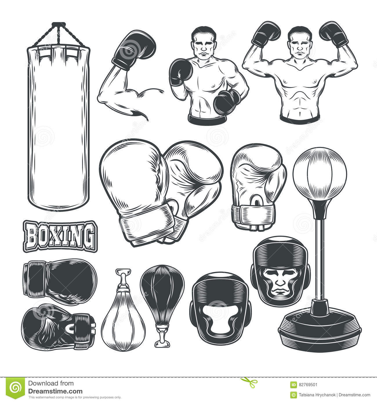 Set Boxing Icons Isolated On White Stock Vector