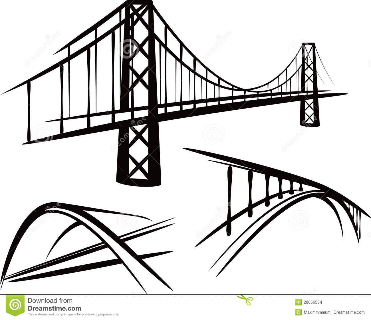 Set Of Bridges Stock Vector Illustration Of Arch Black