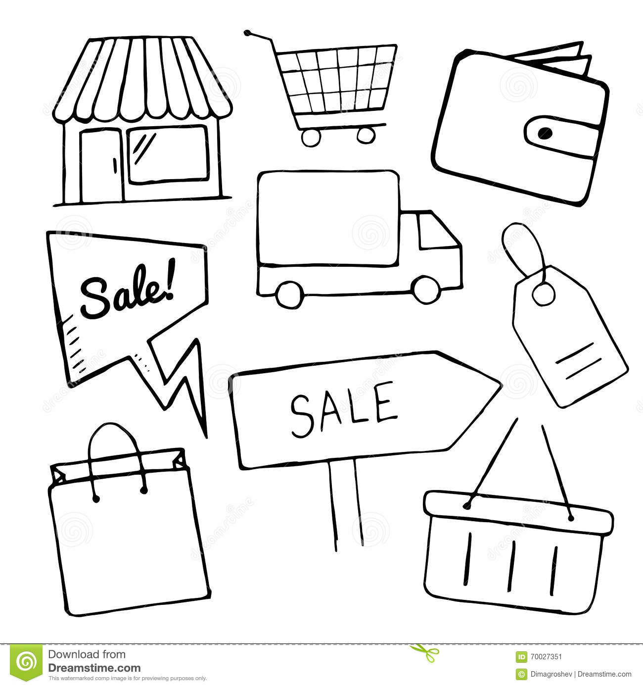 Set Of Business Doodle Icons Shopping Icons For Design Hand Drawn Shop Sale Shopping Bag
