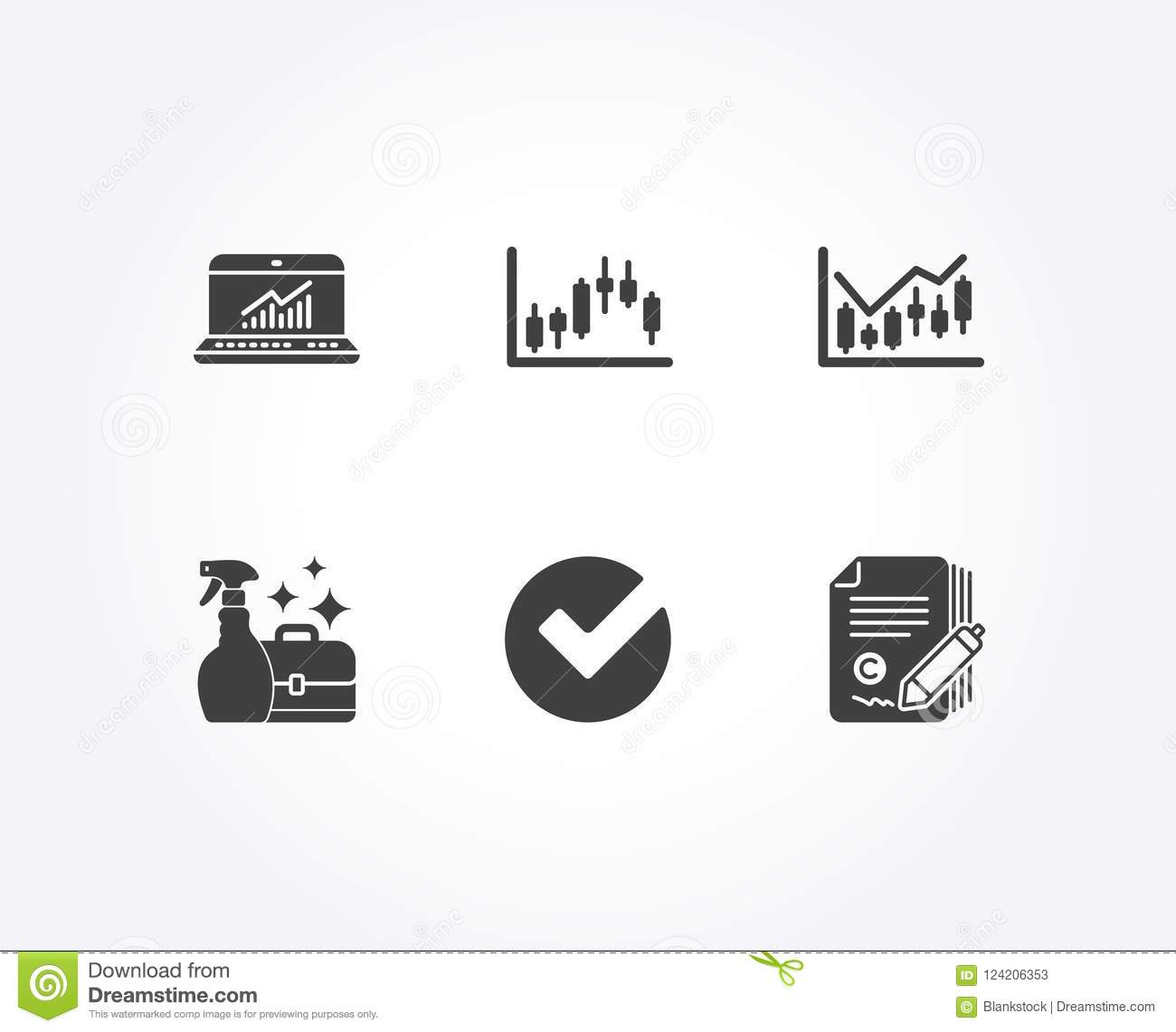 Candlestick Graph Verify And Cleanser Spray Icons