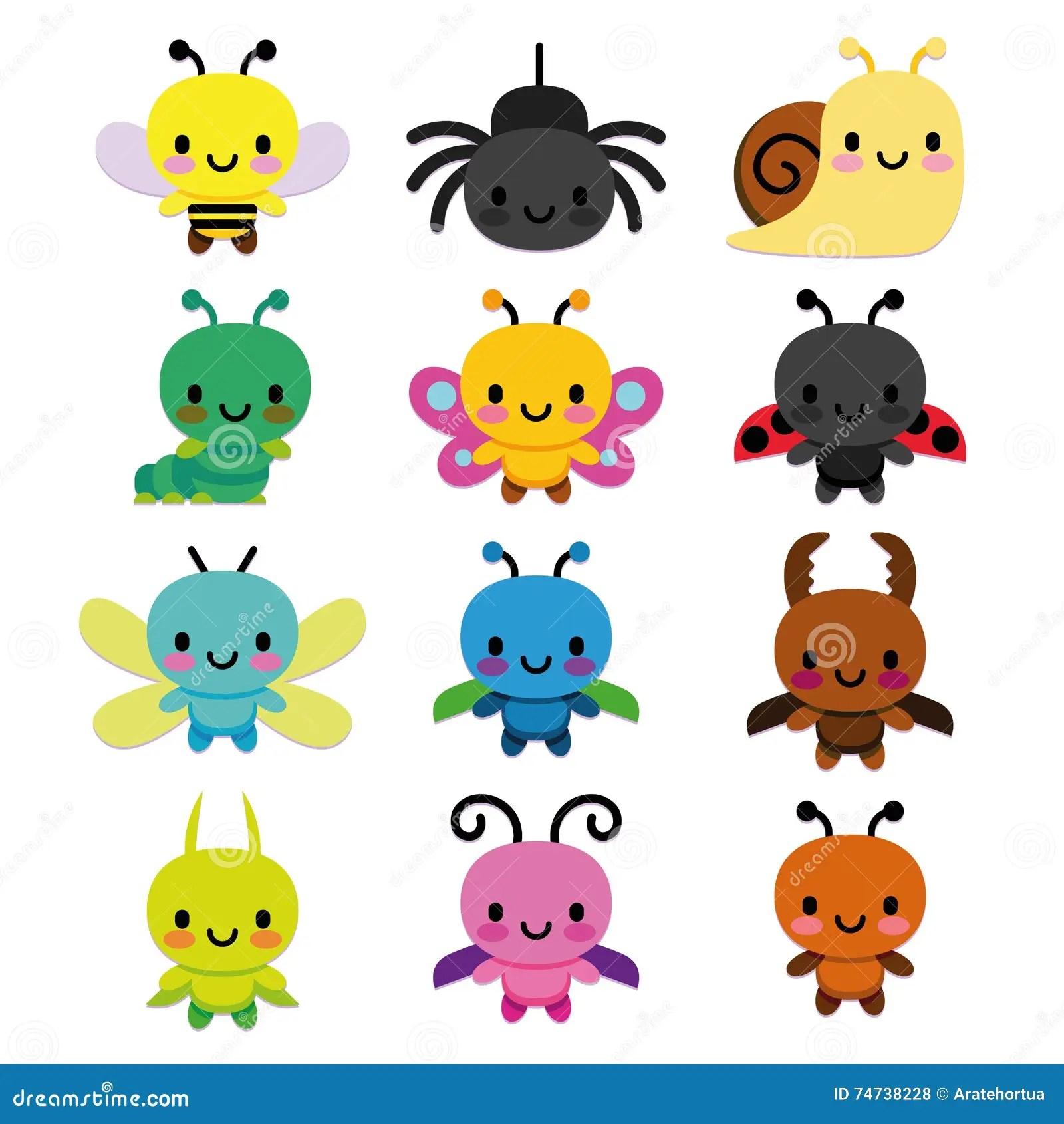 Set Of Cartoon Cute Bugs Isolated Stock Illustration