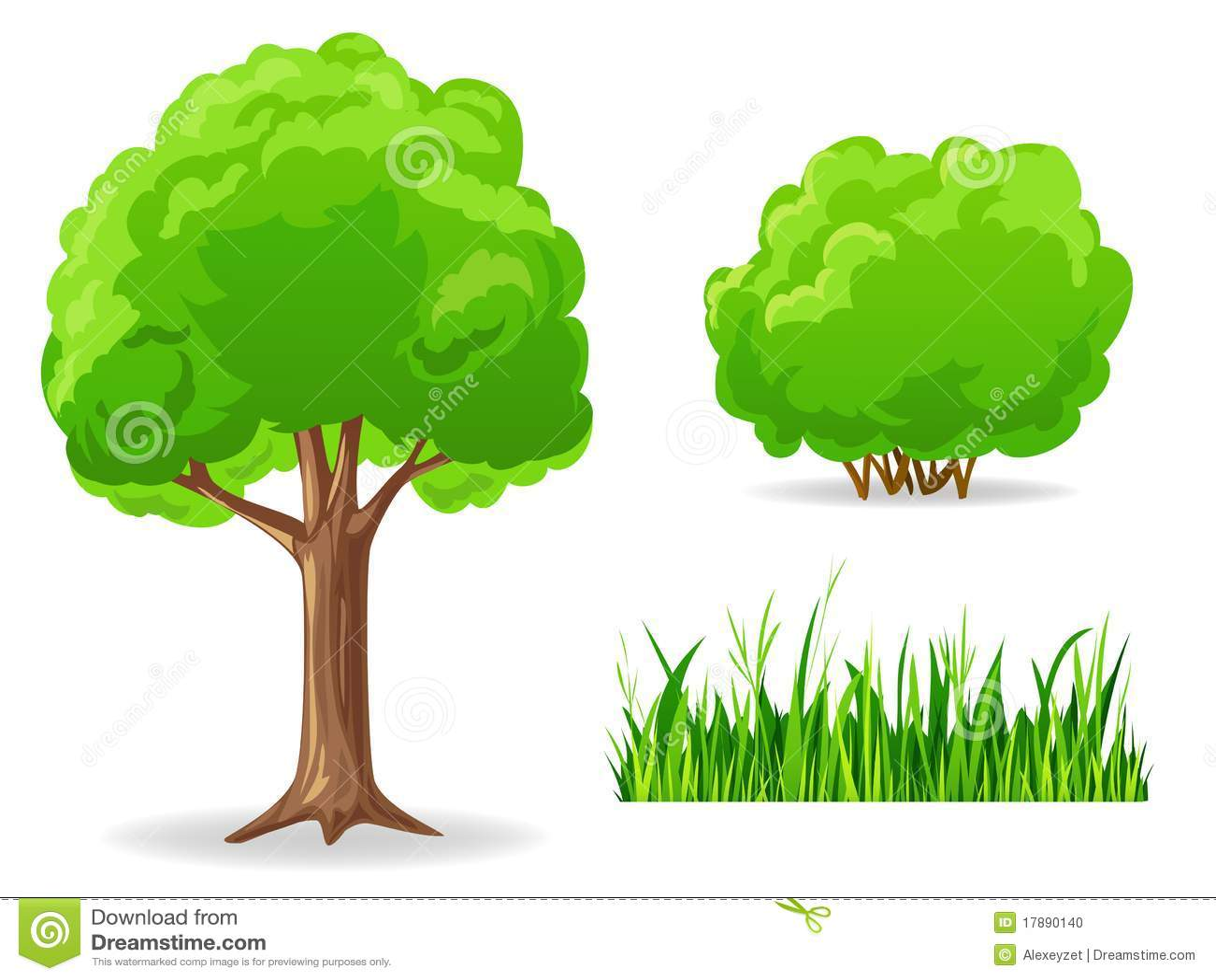 Set Of Cartoon Green Plants. Tree, Bush, Grass. Stock