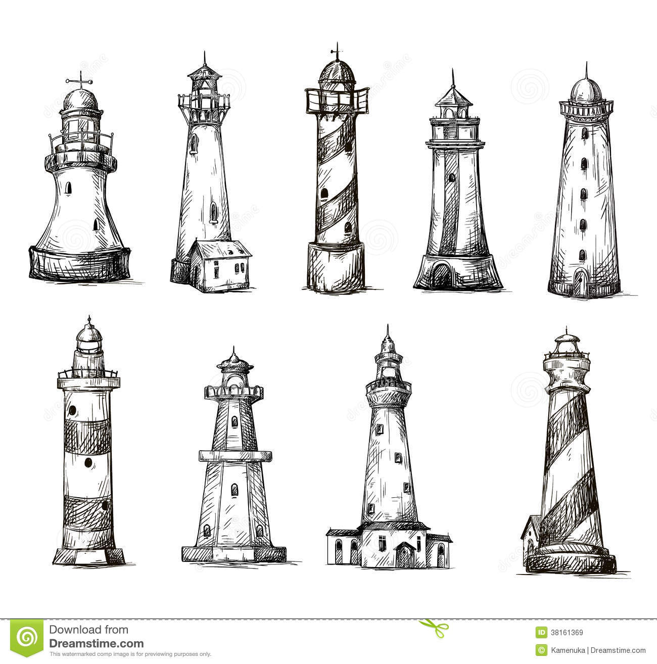 Set Of Cartoon Lighthouses Icons Pencil Drawing Royalty