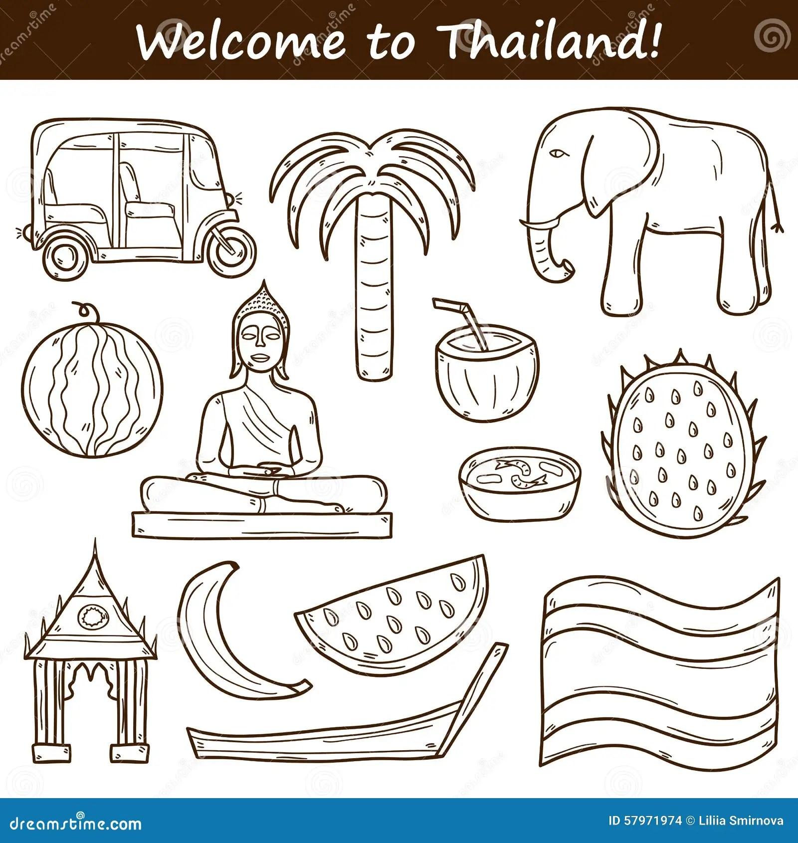 Hand Drawn Doodle Thailand Travel Set Vector Illustration