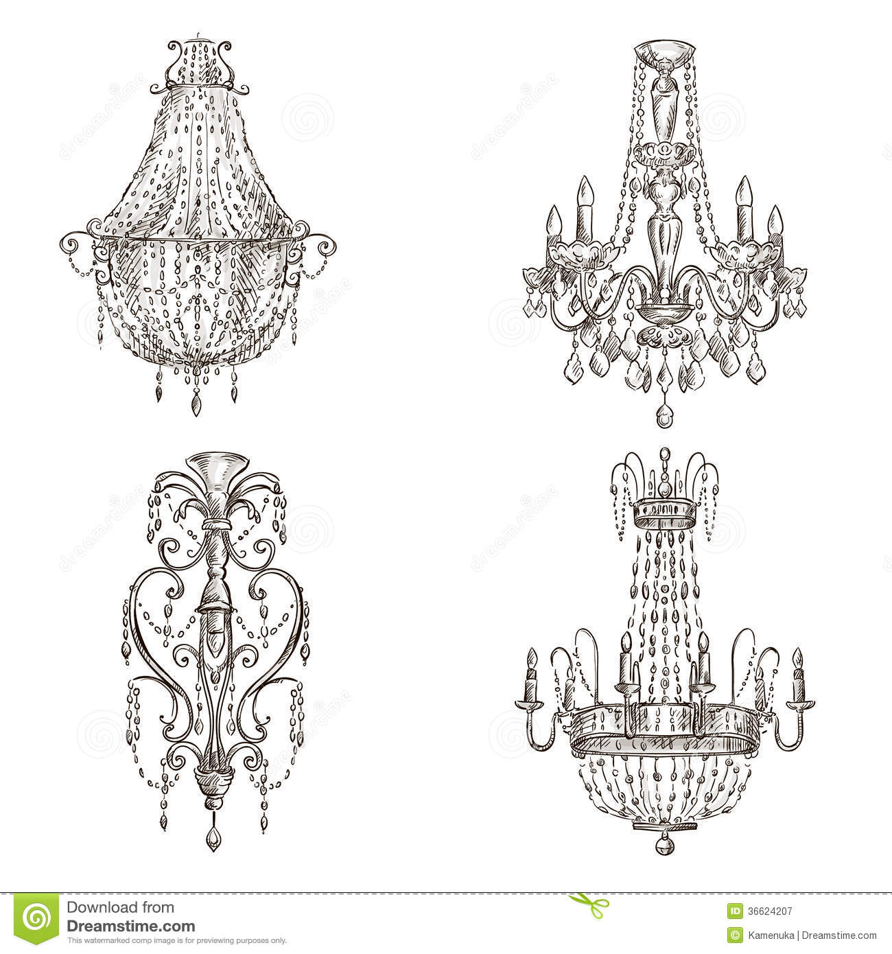 Set Of Chandelier Drawings Royalty Free Stock Photography