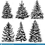 Set Of Christmas Trees Collection Of Black And White Christmas Trees Vector Illustration For Children Tattoo Stock Vector Illustration Of Decorative Design 158931530
