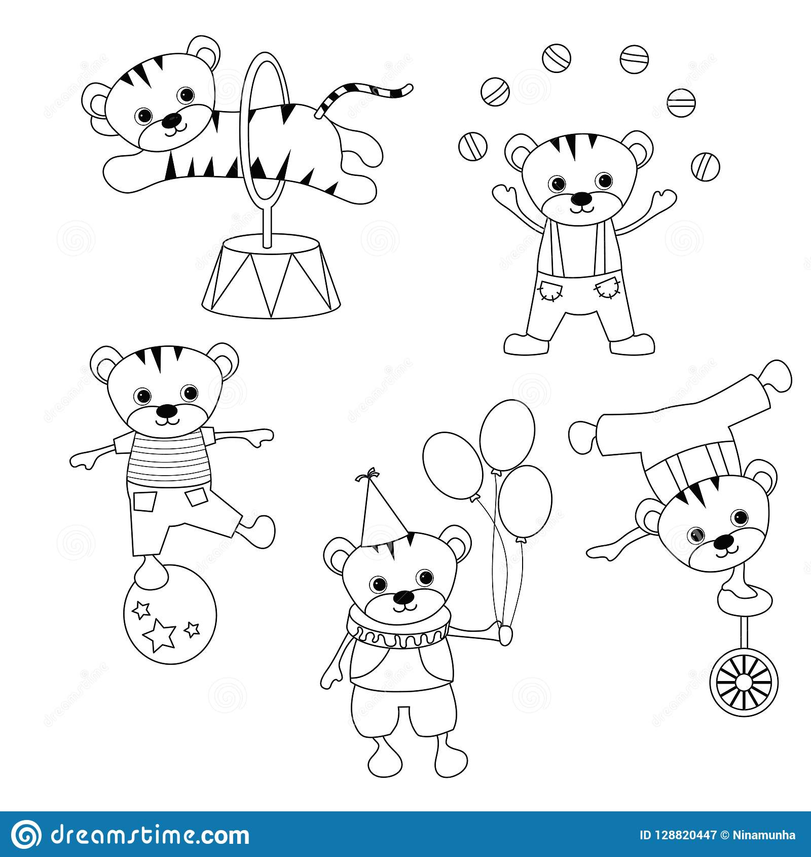 Set Of Circus Animals Stock Vector Illustration Of Magic