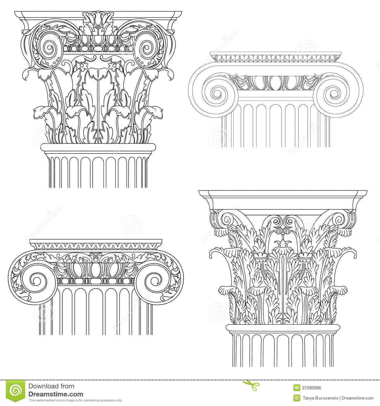 Set Of Classic Columns Stock Vector Illustration Of